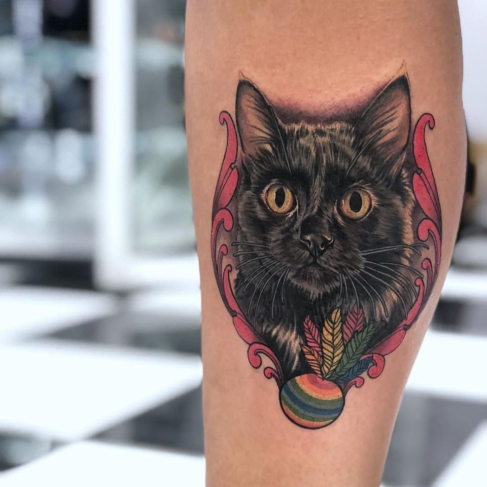 Cutest kitty tattoo by Megan Massacre #MeganMassacre #cattattoos #petportrait #cat #kitty #realism #realistic #hyperrealism #toy #frame #filigree #floral
