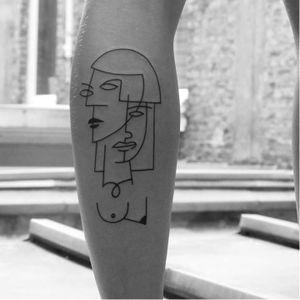 Cubism inspired tattoo by Carlo Amen #CarloAmen #minimalistic #linework #blackwork #cubism