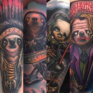 Sloth Tattoos by Eddie Stacey #sloth #slothtattoo #slothtattoos #slothdesign #funtattoos #EddieStacey