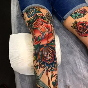 Wild rose by Kirk Jones #KirkJones #traditional #color #rose #flowers #pattern #ornamental #floral #mandala #filigree #leaves #tattoooftheday