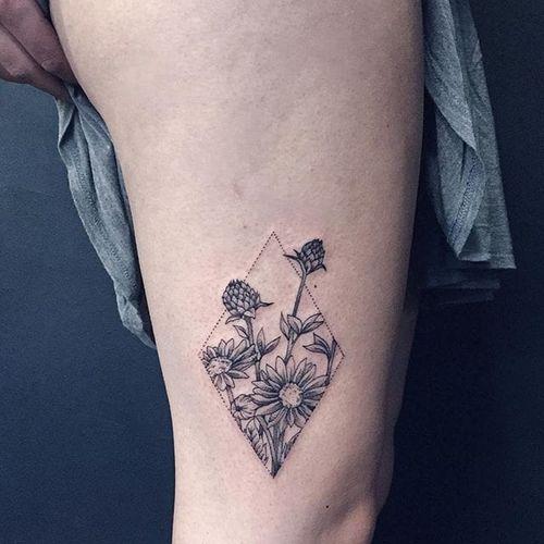 Flowers Tattoo by Shanna Keyes #flowers #blackwork #dotwork #fineblackwork #blackworkartist #blackink #ShannaKeyes