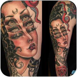 Beautiful lady head by Rose Hardy @rosehardy #tattoodo #lady #head #ladyhead #rosehardy