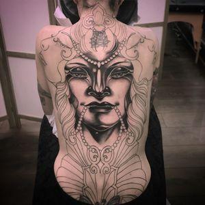 Work in progress tattoo by Vale Lovette #ValeLovette #portrait #coverup #wip #face #blackandgrey #Artnouveau #pattern #pearls #ladyhead #backpiece