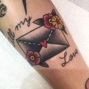 Envelope Tattoo by @silioski #Envelope #Letter #Traditional #GapFiller #Silioski