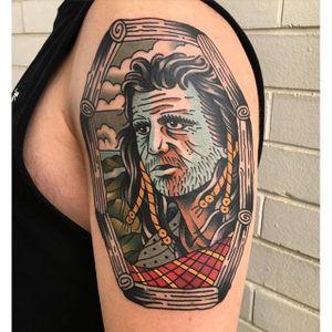 Braveheart Tattoo by Aaron Ashworth #Braveheart #BraveheartTattoo #MelGibson as #WilliamWallace #Portrait #MoviePortraits #AaronAshworth