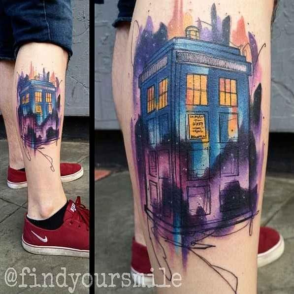 Cabine Doctor Who #RussellVanSchaick #gringo #watercolor #aquarela #sketchstyle #cabinetelefonica #doctorwho #telephone #telefone #nerd #geek #serie #tvshow