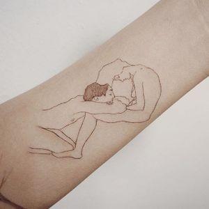Lovers tattoo by Doy. #doy #tattoooistdoy #linework