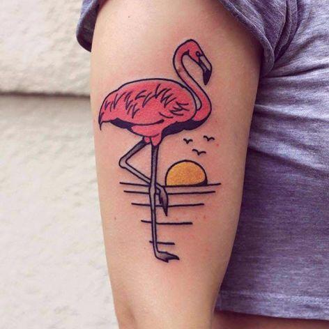 Feita por Patryk Hilton #PatrykHilton #flamingo #flamingotattoo #ave #passaro #bird #sol #sun #agua #water #sunset #pordosol