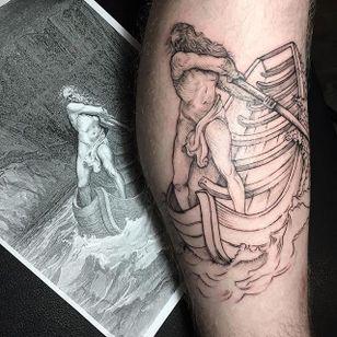 Charon (ferryman of Hades) tattoo by Lesya Kovalchuk. #LesyaKovalchuk #blackwork #mythology #hades #ferryman #greek