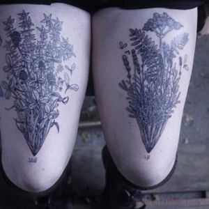 """The text, """"still ill,"""" compliments these twin thigh tattoos of garden scenes in a strange way. #blackandgrey #empowerment #garden #LGBT #magic #nature #Noel'leLonghaul #transgender #witchcraft"""