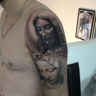 Black and grey Jesus and Virgin Mary tattoos by Jonas Bødker. #blackandgrey #realism #JonasBødker #religion #Jesus #VirginMary