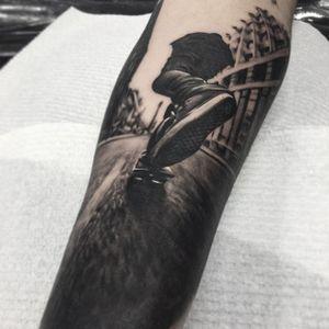 Skater Tattoo by Ben Kaye #skater #realism #blackandgrey #blackandgreyrealism #portrait #BenKaye