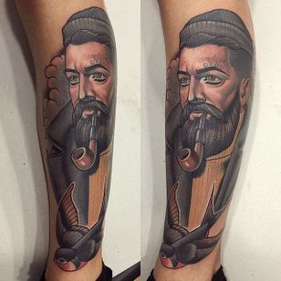 Bearded man portrait tattoo by Mimi Madriz. #MimiMadriz #neotraditional #portrait #beard #man
