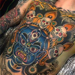Mahakala Tattoo by Daryl Williams #mahakala #traditional #traditionaltattoos #americantraditional #oldschool #traditionalartist #DarylWilliams