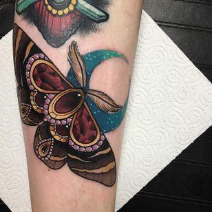 Moth Tattoo by Daryl Watson #moth #neotraditional #neotraditionalartist #contemporary #stylish #bold #DarylWatson