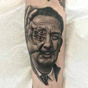 Dali portrait tattoo by Jamie Mahood #JamieMahood #finearttattoos #blackandgrey #realism #realistic #hyperrealism #salvadordali #Dali #portrait #eye #thirdeye #surreal #painter