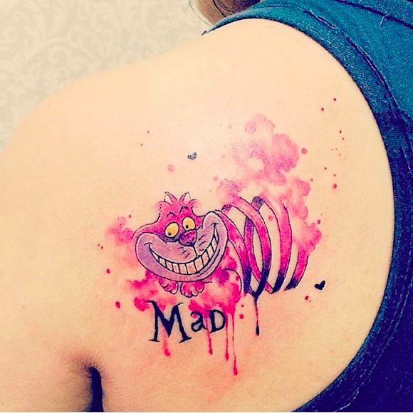 Gato de Cheshire por @jessicadamasceno.art #JessicaDamasceno #CheshireCat #Watercolor #Aquarela #GatodeCheshire #AliceNoPaisDasMaravilhas #AliceInWonderland #TatuadoresBrasileiros #TatuadoresBrasil l