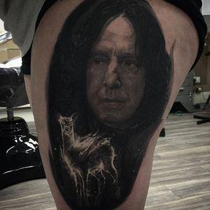 Black and grey Severus Snape of 'Harry Potter' tattoo by Owen Paulls. #OwenPaulls #blackandgrey #realism #portrait #popculture #movie #film #harrypotter #severussnape #alanrickman