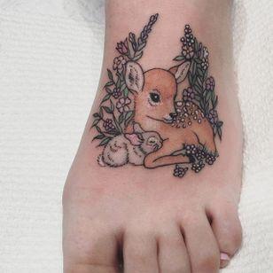 Fawn and bunny tattoo by Lauren Winzer. #Lauren Winzer #girly #deer #bunny #bambi #disney