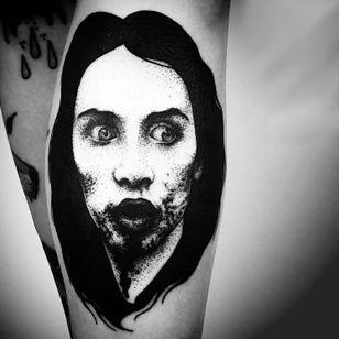 Portrait by Matteo Al Denti #portrait #blackwork #creepy #dotwork #blckwrk #darkartist #darkart #MatteoAlDenti