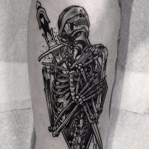 To Die For You by Neil Dransfield #NeilDransfield #blackandgrey #whiteink #neotraditional #skeleton #skull #bones #death #sword #blindfold #tattoooftheday