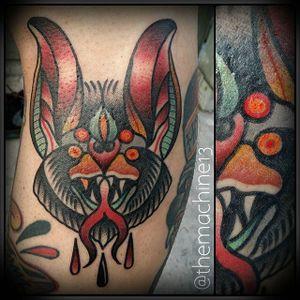 Bat Tattoo by Zack Taylor #Bat #TraditionalTattoos #TraditionalTattoo #OldSchool #OldSchoolTattoos #Traditional #ZackTaylor