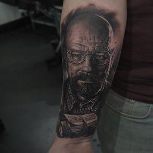 Walter White Tattoo by Edgar Ivanov #WalterWhite #BlackandGrey #BlackandGreyRealism #BlackandGreyTattoos #PortraitTattoos #Realism #EdgarIvanov