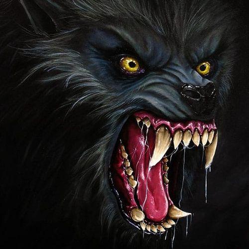 Incredible detail in this werewolf. Painting by Martin Darkside. #MartinDarkside #prettypieceofflesh #darkart #tattoedartist #UKpainter #pinupgirls #horror #oilpainting #bradford #werewolf