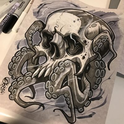 An octopus with a skull for a head by Dave Tevenal (IG—davetattoos). #artshare #blackandgrey #DaveTrevenal #drawings #fineart #illustrations #octopus #skull
