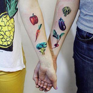 Matching veggie tattoos by Sasha Unisex #SashaUnisex #foodtattoos #color #abstract #cubist #vegetable #pepper #carrot #broccoli #artichoke #eggplant #beet #radish #watercolor #tattoooftheday