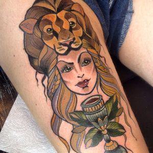 Cersei Lannister tattoo by Dawnii Fantana. #Disney #cute #girly #kawaii #lannister #lion #headdress #gameofthrones #GOT