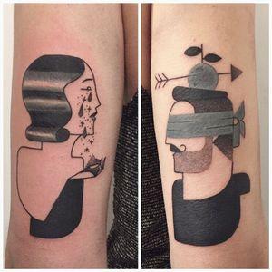 Cubist matching tattoos by Sydney Mahy #Syydlekid #SydneyMahy #graphic #cubist #matching