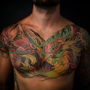 Phoenix Chest Tattoo by Tristen Zhang #phoenix #japanese #neotraditional #neotraditionaljapanese #japaneseart #TristenZhang