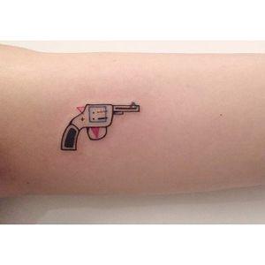 Pistol minimalistic tattoo by Diki. #Diki #deconstructed #minimalistic #pistol #gun