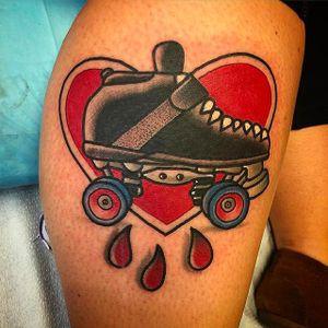 Tattoo by Destroytroy #rollerskate #rollerblade #rollerskates #rollerblades #heart #traditional #Destroytroy