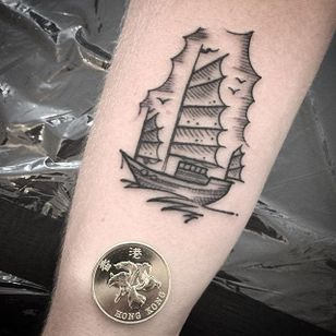 Junk Ship Tattoo by David Zuleta #junkship #junkboat #junk #asianboat #chineseboat #chineseboats #chinesetattoo #blackwork #blckink #small #DavidZuleta