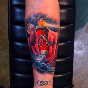 Lighthouse Rose Tattoo by Andrés Acosta @Acostattoo #AndrésAcosta #Acostattoo #Rose #Rosetattoo #Rosetattoos #Austin #Lighthouse
