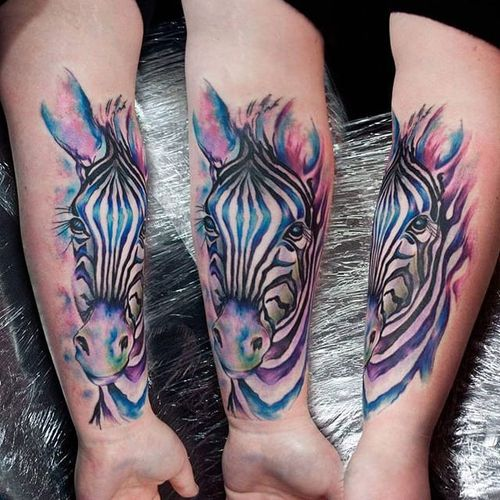 Pastel zebra tattoo by Jay Van Gerven. #watercolor #pastel #zebra #JayVanGerven