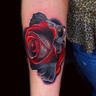 Fish and Rose Tattoo by Andrés Acosta @Acostattoo #AndrésAcosta #Acostattoo #Rose #Rosetattoo #Rosetattoos #Austin #Fish #Fishtattoo