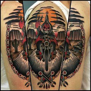 Motorcycle Reaper tattoo by Alex Seytol #reaper #motorcycle #biker #grimreaper #motorbike #traditional #AlexSeytol
