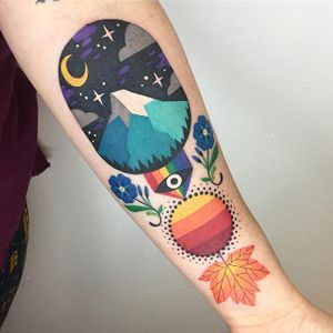 Something different by Winston The Whale @WinstonTheWhale #color #floral #flower #leaf #mountain #moon #folk #folkart #tattoooftheday