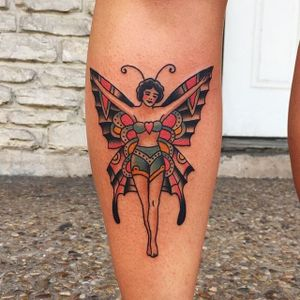 Butterfly lady tattoo by Randy Conner. #traditional #RandyConner #butterfly #lady #woman