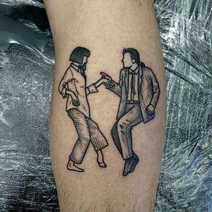 Pulp Fiction Tattoo by Nick Whybrow #Illustrative #IllustrativeTattoos #Illustration #Blackwork #BlackworkTattoos #NickWhybrow