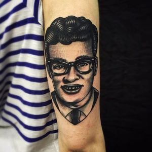 Buddy Holly Tattoo by Matt Cooley #traditional #traditionalportrait #MattCooley #BuddyHolly