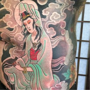 An exquisite depiction of Kannon by Luca Ortis (IG—lucaortis). #Irezumi #Kannon #LucaOrtis #traditional