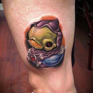 Skeletor rubber ducky tattoo by Steven Compton. #newschool #rubberduck #StevenCompton #rubberducky #HeMan #Skeletor