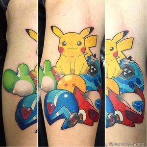 #pokemon #pikachu #yoshi #megaman #gamer #games #SamaraChristo #TatuadorasDoBrasil #TalentoNacional #comics #coloridas #colorful #brasil