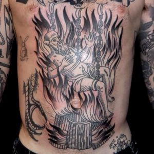 Medieval torture tattoo by Duncan X #DuncanX #medievaltattoos #blackandgrey #linework #illustrative #woodblock #etching #medieval #torture #fire #death #pain #chain
