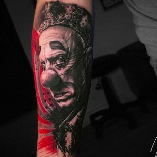 Clown tattoo by Michael Cloutier @cloutiermichael #Michaelcloutier #blackandgray #blackandgrey #blackandred #black #red #trashpolka #realism #clown