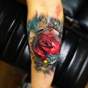 Galaxy Rose Tattoo by Andrés Acosta @Acostattoo #AndrésAcosta #Acostattoo #Rose #Rosetattoo #Rosetattoos #Austin #Galaxy